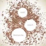 Vector Cocao. Vector natural cocoa texture. Vector cocoa. Organic frame background. Food texture. Cocoa splash background Stock Illustration