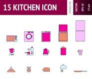 Vector cocinar del ejemplo y el sistema del icono del esquema de la cocina Imagen de archivo libre de regalías