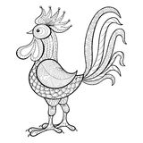 Vector Cock, Rooster, New Year 2017 symbol, zentangle domestic f. Armer Bird for adult Coloring pages, patterned illustration for tattoos with high details Stock Photography