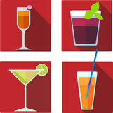 Vector cocktail illustrations set. Set of 4 vector colorful cocktail illustrations Stock Photos