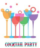 Vector Cocktail Party With Wine Glasses. Vector illustration of cocktail party with wine glasses  on white background Royalty Free Stock Photography