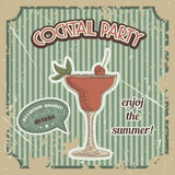 Vector Cocktail poster in vintage style Royalty Free Stock Photography