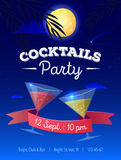Vector cocktails party poster with night beach landscape, moon, palm trees and cocktail glasses. Stock Images