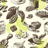 Vector cocoa hand drawn sketch seamless pattern illustration. Royalty Free Stock Photography