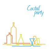 Vector Coctail party invitation card with glasses and bottles Stock Images