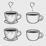 Cups. Vector coffe cup or tea cups engraving on light background. Vintage hand drawn bages set. Illustration for menu, ads Royalty Free Stock Photos