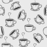 Coffe or tea cups seamless pattern. Vector coffe or tea cups engraving seamless pattern on light background. Vintage hand drawn bages set. Illustration for menu Stock Photo