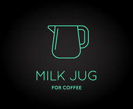 Vector Coffee Accessories Icon with Letter Sign. Can be used as Logotype Stock Photo