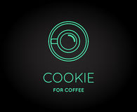 Vector Coffee Accessories Icon with Letter Sign. Can be used as Logotype Stock Images