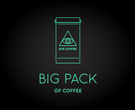 Vector Coffee Accessories Icon with Letter Sign. Can be used as Logotype Stock Photography