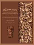 Vector coffee background with floral pattern elements. Stock Image
