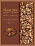 Vector coffee background with floral pattern elements. Stock Photography