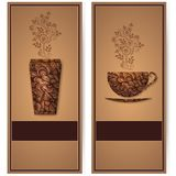 Vector coffee background with floral pattern elements. Template for card or menu. Elegant coffee vector elements. Design Stock Images