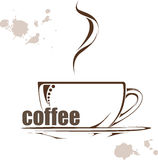 Vector coffee background.  illustration with a Cup of coffee and hand drawn wods Royalty Free Stock Images