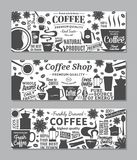 Vector coffee banners. Mugs, beans and coffee equipment icons for coffeehouse, espresso bar, restaurant, cafe, packaging, branding and identity Stock Photos