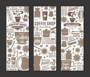 Vector coffee banners. Mugs, beans and coffee equipment icons for coffeehouse, espresso bar, restaurant, cafe, packaging, branding and identity Royalty Free Stock Photography