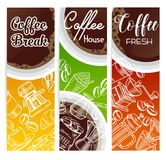 Coffee banners. Vector coffee banners with sketch cups, French press, brewer for menu cafe Stock Photos