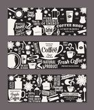 Vector coffee banners. Mugs, beans and coffee equipment icons for coffeehouse, espresso bar, restaurant, cafe, packaging, branding and identity Stock Photography