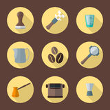Vector coffee barista equipment icons Stock Photography
