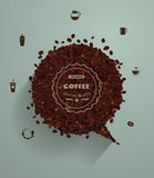 Vector coffee beans with empty speech bubbles Royalty Free Stock Photo