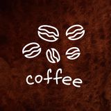 Vector coffee beans. Hand drawn illustration on. Textured paper. White and brown design element. Can be used for coffee shop, packaging, web, printing and vector illustration