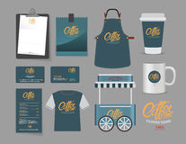 Vector coffee bootsh and restaurant set Stock Photos