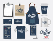 Vector coffee cafe restaurant set, T-Shirt, menu, namecard and f Royalty Free Stock Images
