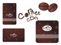 Vector coffee cafe set. Template design of coffee shop menu header with logo , coffee bean icons and business cards(vertical & horizontal) for coffee cafe & Stock Image