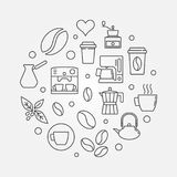 Vector coffee circular illustration in thin line style. Vector coffee circular symbol or illustration in thin line style Royalty Free Stock Photo