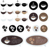 Vector coffee, coffee cup and bean set bubble talk blackboard. Design element , Illustrator EPS10 Royalty Free Stock Image