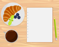 Vector coffee, croissant, berries and notebook on wood background. Flat lays style stock illustration