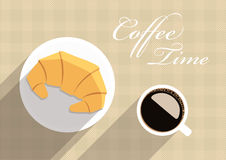 Vector coffee and croissants. Royalty Free Stock Photo