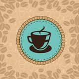 Vector coffee cup on blue label Royalty Free Stock Images