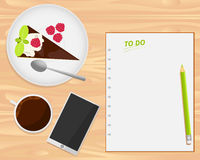 Vector coffee cup, cake, smartphone and notebook. On wood background. Flat lays style stock illustration
