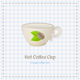 Vector coffee cup for cappuccino with logo consisting of coffee beans and leaves. On checkered background. File with transparent objects Royalty Free Stock Photo