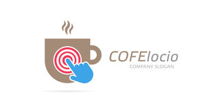 Vector coffee cup and click logo combination. Cafe and cursor symbol or icon. Unique restaurant and coffeehouse logotype Royalty Free Stock Image