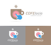 Vector coffee cup and click logo combination. Cafe and cursor symbol or icon. Unique restaurant and coffeehouse logotype Stock Photos