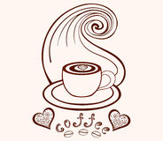 Vector coffee cup with coffee art, coffee beans, hearts and with lines pattern Stock Photo