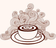 Vector coffee cup with coffee art and with curling lines pattern. Food and drink decorative background Royalty Free Stock Images