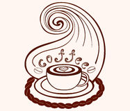 Vector coffee cup with coffee art and with lines pattern. Decorative vector food and drink background Royalty Free Stock Photo