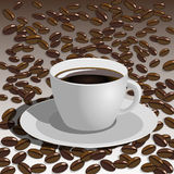Vector coffee cup with coffee beans Royalty Free Stock Photography