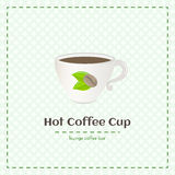 Vector coffee cup for espresso with logo consisting of coffee beans and leaves. On checkered background. File with transparent objects Stock Image