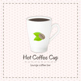 Vector coffee cup for latte with logo consisting of coffee beans and leaves. On checkered background. File with transparent objects Stock Images