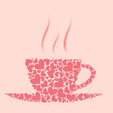 Vector coffee cup from red hearts Royalty Free Stock Photography