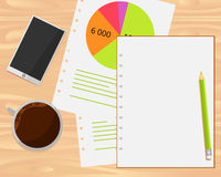 Vector coffee cup, smartphone, analytics and notebook on wood background. Flat lays style stock illustration