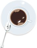 Vector coffee cup top view. Vector image. Cup of coffee with bubbles and spoon Stock Photo