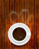 Vector coffee cup on wooden background Royalty Free Stock Photo