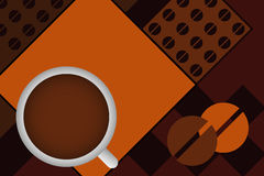 Vector coffee design. Illustration of a  design with a cup of coffee.Useful as brochure,poster just adding your text.EPS file available Stock Photos