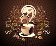 Vector coffee design with grains Royalty Free Stock Photo