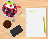 Vector coffee, fruit salad, smartphone and notebook on wood background. Flat lays style stock illustration